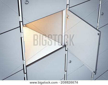 Opened white empty safe box with light inside. 3d rendering