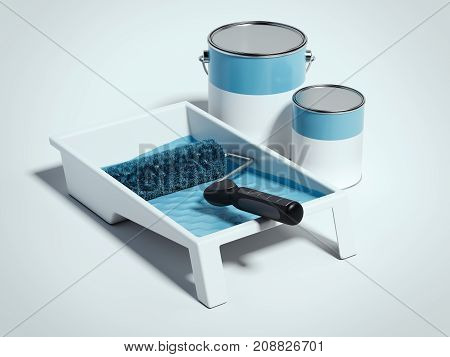 Paint tray and blue roller isolated on white background. 3d rendering