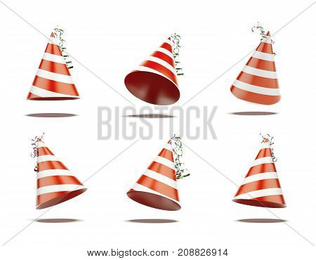 Six red festive caps isolated on white background. 3d rendering