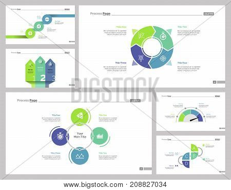 Planning process set can be used for business education, training, presentation. Business research and strategy concepts with steps, options and process charts, cycle and doughnut diagrams