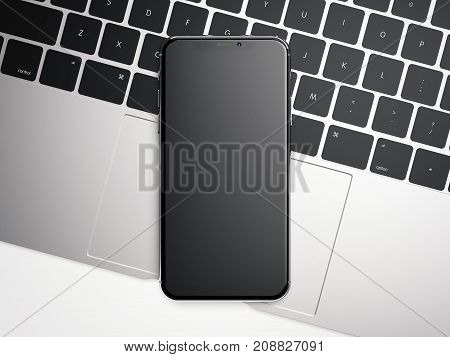 Modern smartphone on the silver laptop. 3d rendering