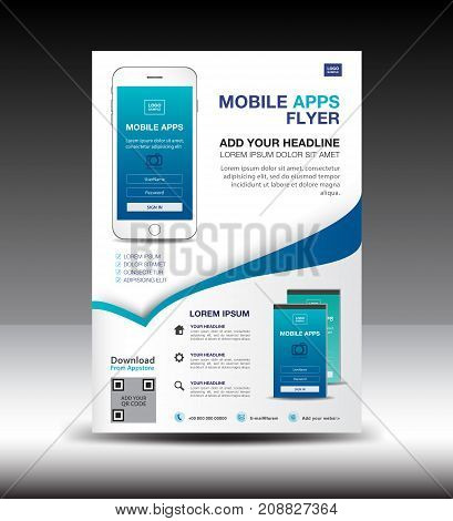 Mobile Apps Flyer template. Business brochure flyer design layout. smartphone icons mockup. application presentation. Magazine ads. Blue cover. poster. leaflet. infographics. advertisement. in A4 size