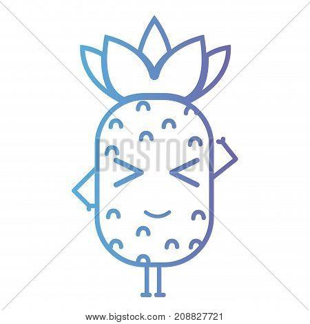 line kawaii cute happy pineapple fruit vector illustration