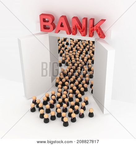 Crowd of small symbolic businessmen figures bank doors exiting 3d illustration horizontal over white
