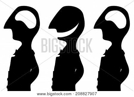 Joke cartoon brainless three person black silhouette, vector illustration, horizontal, isolated, over white