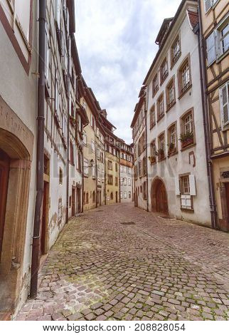 Old street in Little Venice, petite Venise in Colmar, Alsace, France