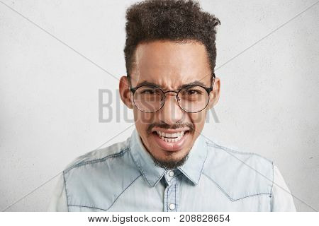 Negative Human Emotions, Facial Expressions, Feelings And Attitudes Concept. Hipster Guy With Oval F