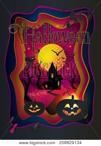 Halloween party. Cut paper Happy Halloween festive abstract decoration background, 3D paper art frame, cut paper texture with colorful paper layers. Holiday invitation background template, gift card, craftsmanship, banner vector