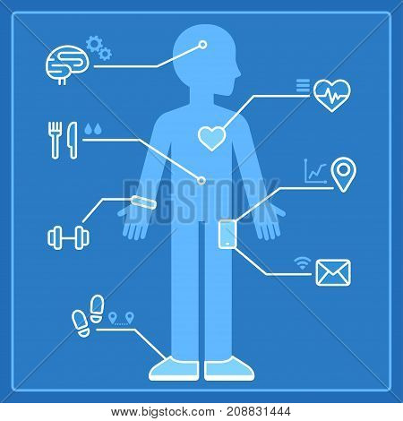 Quantified self infographics concept. Health and activity monitoring with smart devices and wearable electronics. Blueprint vector illustration of man and data from fitness tracker and smartphone.
