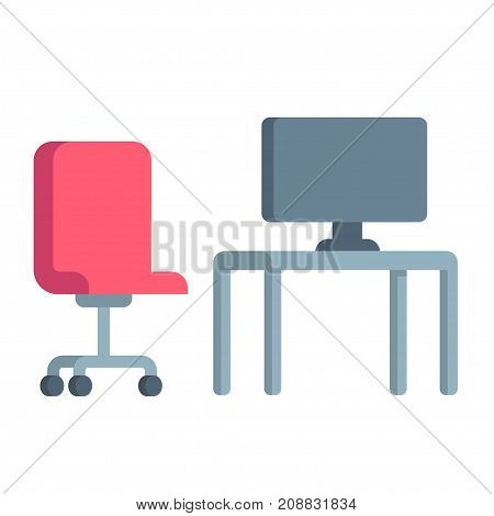 Office desk icon with computer and office chair simple flat cartoon vector illlustration.