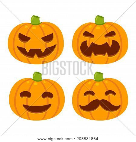Vector Halloween pumpkin illustration set with different faces. Cartoon carved pumpkins funny and smiling and evil with fangs. Isolated icons.