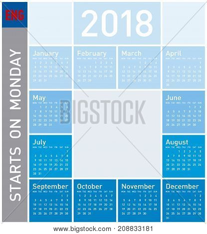 Blue Calendar For Year 2018, In English. Week Starts On Monday