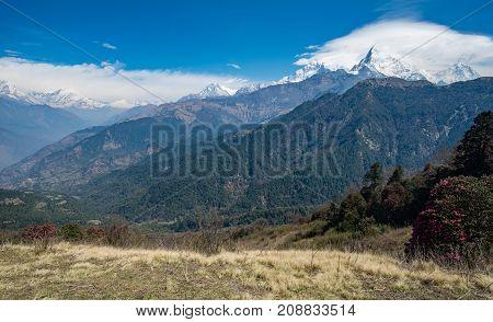 Scenery view of Annapurna mountains range in Nepal.