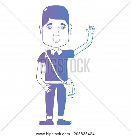 line avatar man with hairstyle and clothes vector illustration