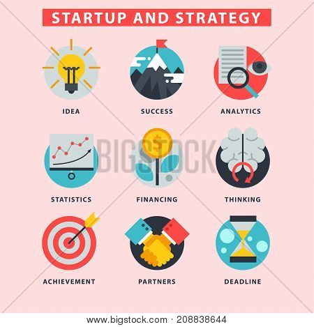Startup and strategy web business icon set suitable for info graphics websites ui management finance start up vector illustration. Marketing concept analysis process strategy.