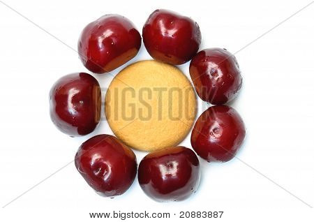 Cookies With Cherries Around Forming Flower Head