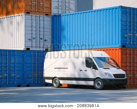 White minivan near big storage containers. 3d rendering