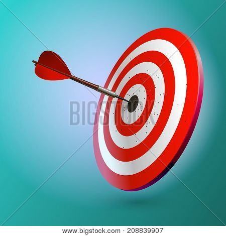 Dart Hitting A Target, Isolated On White Background, Vector Illustration.