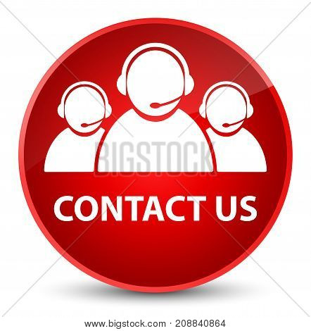 Contact Us (customer Care Team Icon) Elegant Red Round Button
