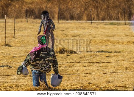 Halloween Scarecrows In Camouflage In Open Field
