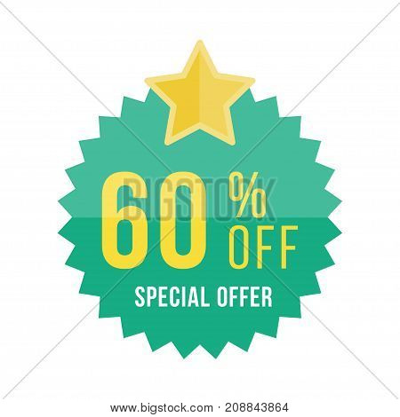 Green Sticker And Star With 60 Off Discount. Template Of The Emblem With Special Offer Flat Vector E