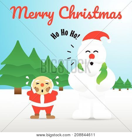 Vector Illustration Of Merry Christmas Happy Chubby Snowman Is Acting Like Santa Claus By Wearing A Red Hat Sticking Mustache And Beard On His Face While Santa Claus Is Bald On Snowy Ground