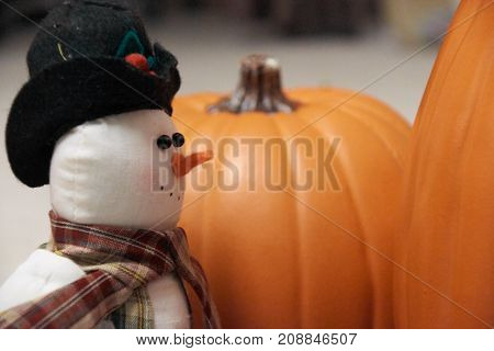 Festive Snowman looking at large and small fall pumpkins