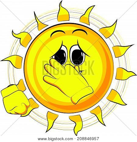 Cartoon sad sun holding his nose because of a bad smell. Expression cartoon vector.