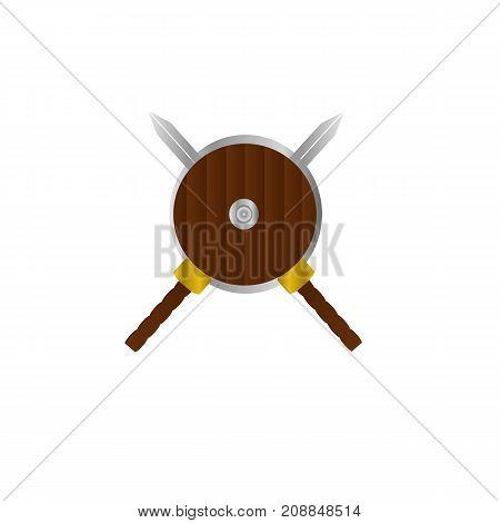 Sword and shield logo banner illustration design