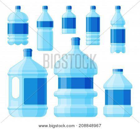 Water plastic bottle set vector. Transparent mineral beverage blank. Refreshment nature blue clean liquid environment element. Aqua fluid template illustration.