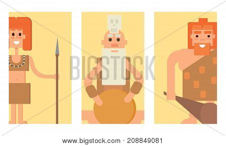 Caveman primitive stone age cards cartoon neanderthal people action character evolution vector illustration. prehistoric muscular warrior anthropology homo evolution family.