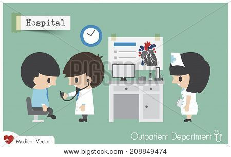 Outpatient department ( OPD ) in hospital . Doctor ( Cardiologist ) use stethoscope to exam patient . Vector . Flat design .
