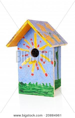 Colorful Birdhouse Painted By Children