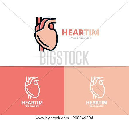 Unique heart and cardiology logo design template. Unique anatomy and medicine logotype design template.