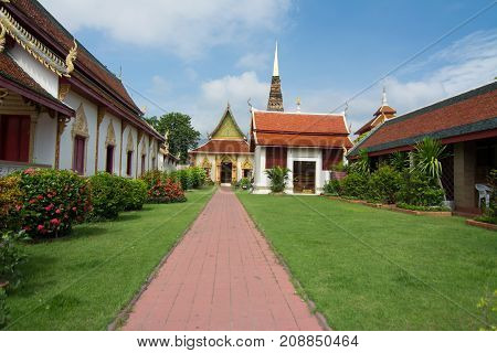 Wat Phra That Hariphunchai pagoda temple important religious traveling destination in northern province is the most famous temple