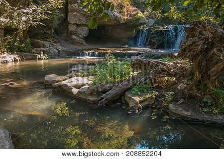 Waterfall in the Lazio forest, Central Italy