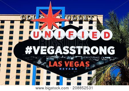 LAS VEGAS,NEVADA - 10 OCT : The VEGAS STRONG sign on bright sunny day in Downtown Las Vegas background of Golden Nugget Hotel , Nevada USA,10 Oct 2017.