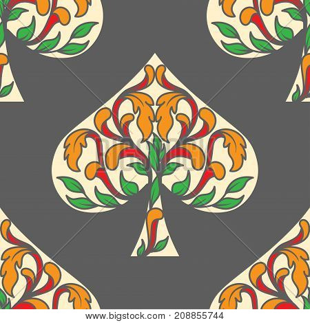 Spades poker as pattern with traditional decorative ornament