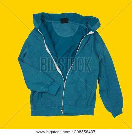 Sporty jacket close up on yellow background