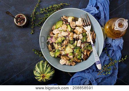 Delicate Slices Of Chicken Fillet With Zucchini And Mushrooms Stewed With Italian Herbs. Healthy Eat