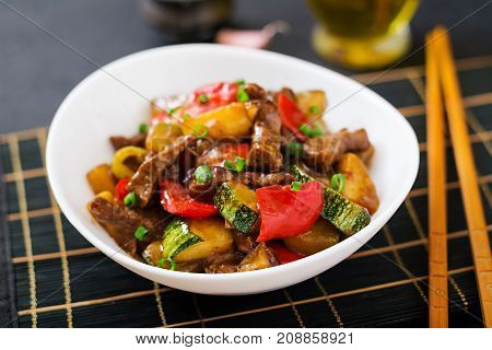Stir Fry Beef, Sweet Peppers, Zucchini And Green Apples