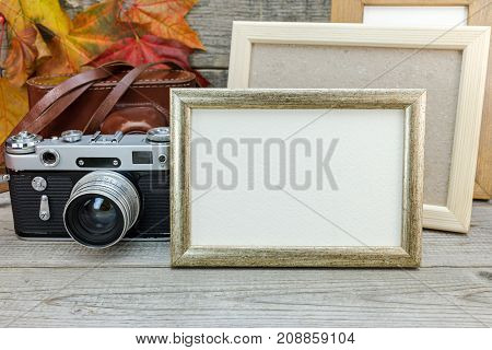 Empty Photo Frames And Classic Camera On Gray Wooden Desk With Dry Fallen Maple Leaves