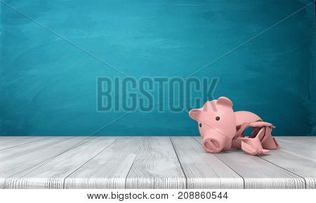3d rendering of a broken piggy bank in several large shards lying on a wooden desk. Broken safe. Investment insurance. Reliable bank.