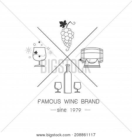 Set of wine labels. Elements for design on the wine theme. Collection of wine symbols: grape bottle. Modern labels of wine. Emblems and logos of wine. vintage style Vector illustration.