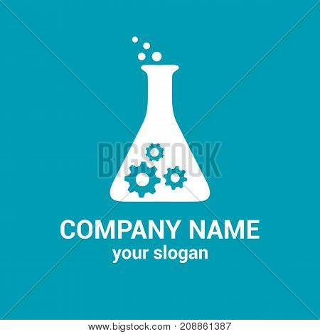Vector logo template for laboratory pharmaceutical company. Bio technology logotype. Industrial icon. EPS10. Flat design.