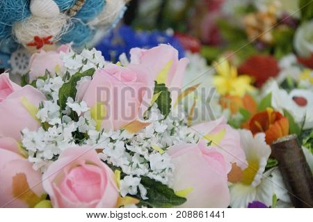 Photo of handmade bouquet of artificial flowers