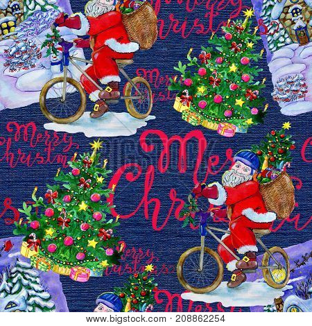 Seamless background with Santa Claus on bike, winter landscape and conifer on blue. New Year and Christmas holiday vintage pattern, watercolor and graphic hand drawn illustration with lettering