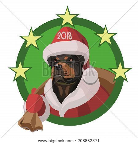 Dog Rottweiler happy new year 2018 this year will bring a bag of pleasures loyal friends and good mood!