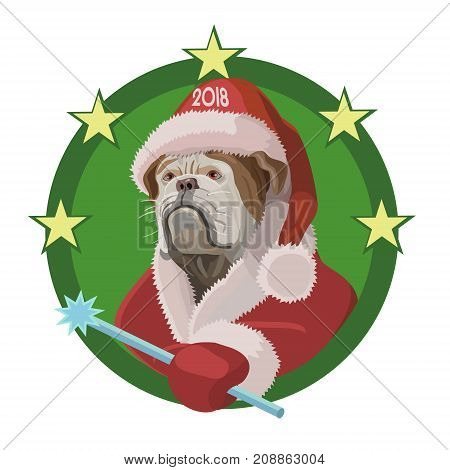 Dog Bulldog happy new year to 2018 he's in red cap of Santa Claus with a magic wand desires will bring joy and happiness!