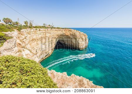 Portugal Algarve Beach Cave Visited By Experience Boat.